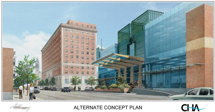 The space behind the DeWitt Clinton Hotel on Eagle Street has been seen as an alternative place to build a convention center.