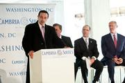 "Choice Hotels International and Concord Hospitality got construction under way on the 182-room Cambria Suites hotel at CityMarket at O with a March 4 ""skybreaking."" D.C. Mayor Vincent Gray spoke at the event."