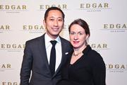 The new Edgar Bar & Kitchen at the Mayflower made its glitzy debut with a power-packed cocktail party March 7. Perhaps it was the release from the No-quester snow bust the previous day, but the energized crowd was ready to celebrate and mingle. Jimmy Yeh of Louis Vuitton with wife Isabelle Brochure.