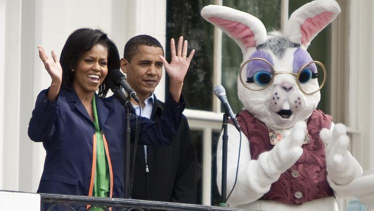 Approximately 30,000 people are expected to show up on the South Lawn of the White House for Monday's 136th Easter Egg Roll. In this photo from the 2009 Roll, First lady Michelle Obama and President Barack Obama chill with the Easter Bunny. Photographer: Joshua Roberts/Bloomberg News