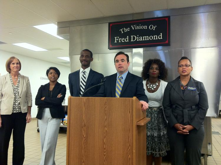 John Cranley announces his plan to combat poverty in Cincinnati at a news conference Thursday at the Freestore Foodbank on Central Parkway.