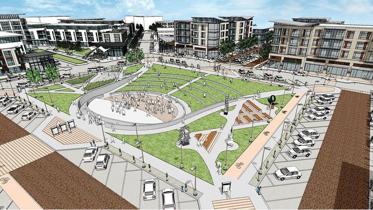 A new City Hall and library will overlook a central public square in the development.