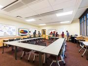 A classroom in the University of Denver Margery Reed building designed by Hord Coplan Macht with active learning techniques.
