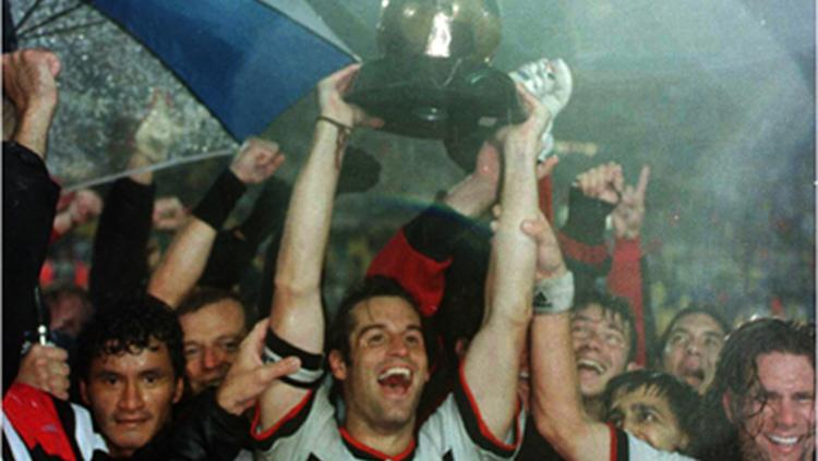 D.C. United hoists the MLS Cup after winning the new league's first championship game in October 1996 outside of Boston.