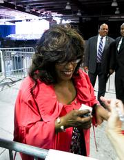 Congresswoman Corrine Brown (D) jokes around with local reporters after President Barack Obama delivered a speech at Jaxport's Cruise Terminal Thursday afternoon.
