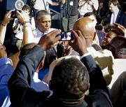 President Barack Obama spoke with the crowd after giving a speech at Jaxport's Cruise Terminal.