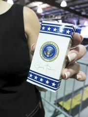 An official box of Presidential M&M's were displayed by certain VIPs.
