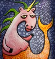 """SOMETHING FISHY: A detail of a painting by Ryan Henry Ward titled """"Unicorn Mermaid Hybrid."""" Ward describes his work as """"magical pop surrealism."""""""