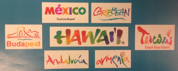 Hawaii Tourism Authority officials showed a selection of competitor logos, including the Mexico Tourism Board, the Caribbean, Taiwan and more, which appear to copy the HTA's Hawaii rainbow brushstroke logo.