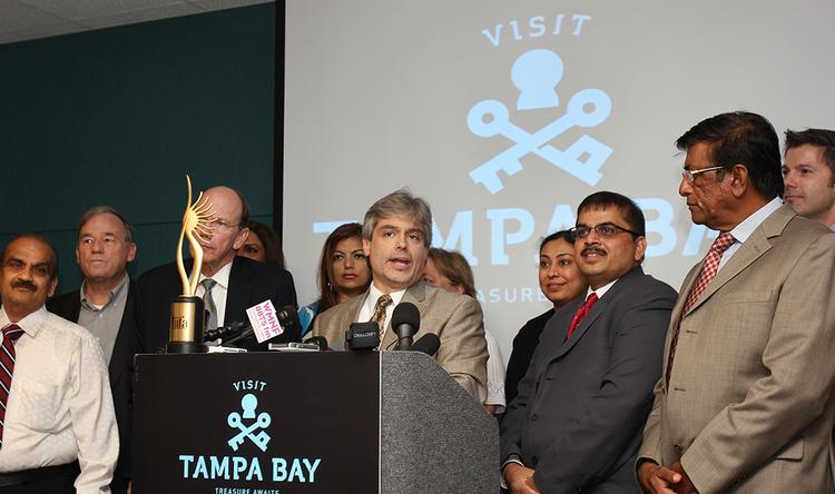 Visit Tampa Bay's President and CEO Santiago Corrada addresses a press conference announcing that Tampa will be the site of the 2014 IIFA Weekend and Awards.