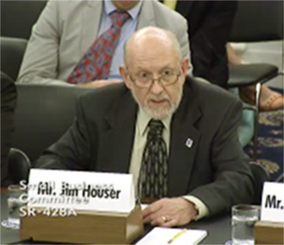 Jim Houser, co-owner of the Hawthorne Auto Clinic, testifying at a U.S. Senate hearing.