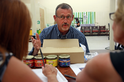 Dancil Strickland of Chehalem Ridge Brands pitches a line of all-fruit salsas to Syd Hanningan of the Green Zebra Board, and Marie Boleen. Strickland was seeking  validation of the concept but is still looking for a manufacturing partner.