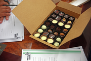 Jeremy Karp brought along a sample of truffles produced by his business, Batch PDX. Karp works to evoke childhood memories with upscale versions of old candy bar favorites. The pitch worked. Green Zebra expressed interest in carrying the brand.