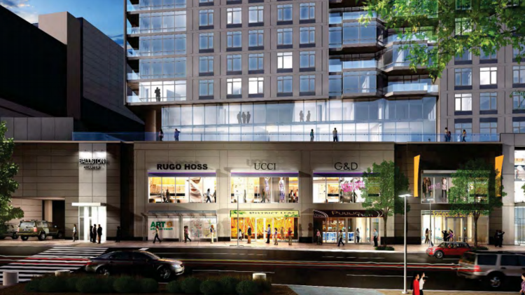 Materials submitted to the Arlington County Board this week reveal a much closer look of what Ballston Quarter will look like when it's finished in 2018. Fake store names included in the renderings could provide a window into the type of tenant owners Forest City Washington are going after: Ucci? G&D? Rugo Hoss, anyone?