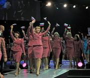 International Mary Kay representatives from Russia take the stage at the Kay Bailey Hutchison Dallas Convention Center.