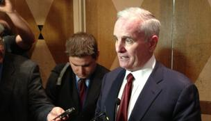 Gov. Mark Dayton speaking to reporters at the Minnesota Chamber of Commerce Business Day at the Capitol event in St. Paul.