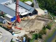 An August 2012 aerial of the future proton therapy site.