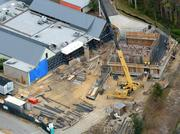 A December 2012 aerial of the future proton therapy site.