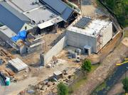 An April 2013 aerial of the future proton therapy site.