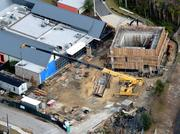 A January 2013 aerial of the future proton therapy site.