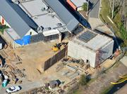 A February 2013 aerial of the future proton therapy site.