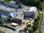 A July 2013 aerial of the future proton therapy site.