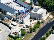 A May 2013 aerial of the future proton therapy site.