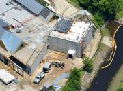 A June 2013 aerial of the future proton therapy site.