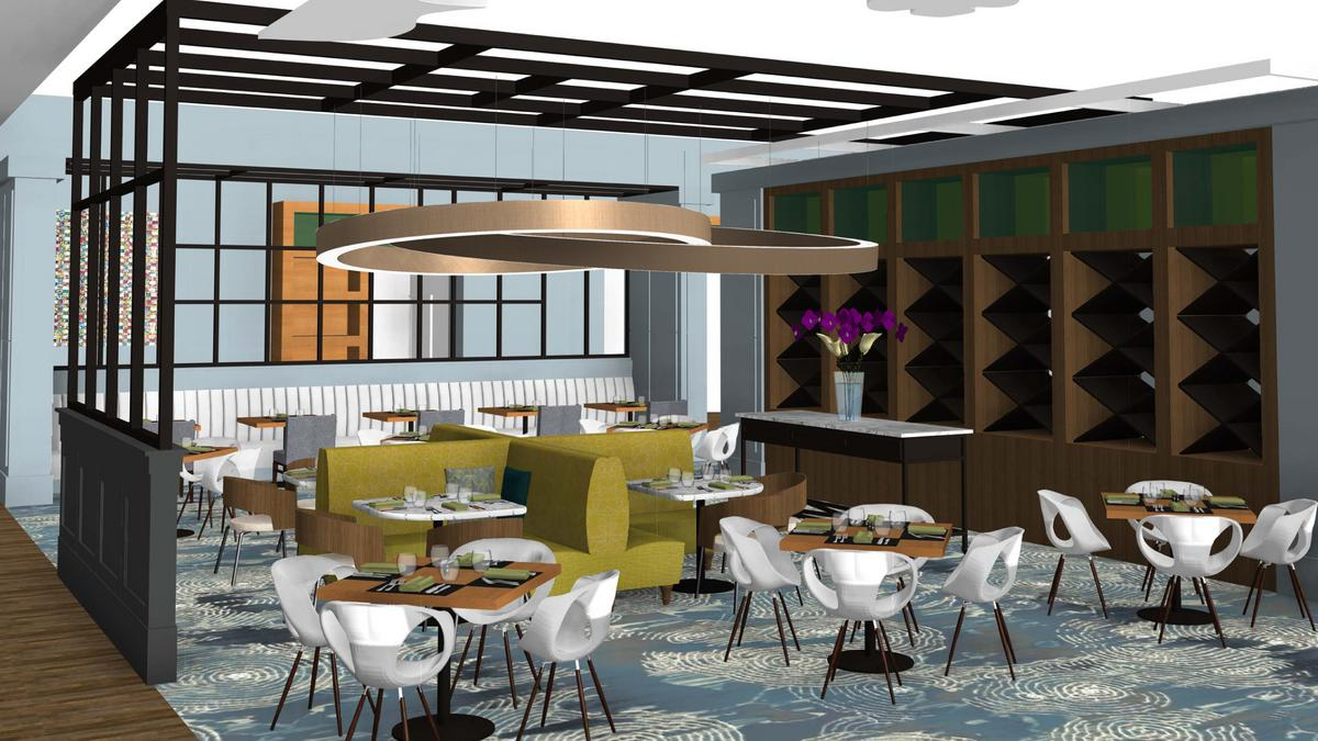 Hilton columbus downtown restaurant and bar area getting