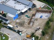 An October 2012 aerial of the future proton therapy site.