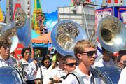 The All Ohio State Fair Band heads to the start of the parade route.