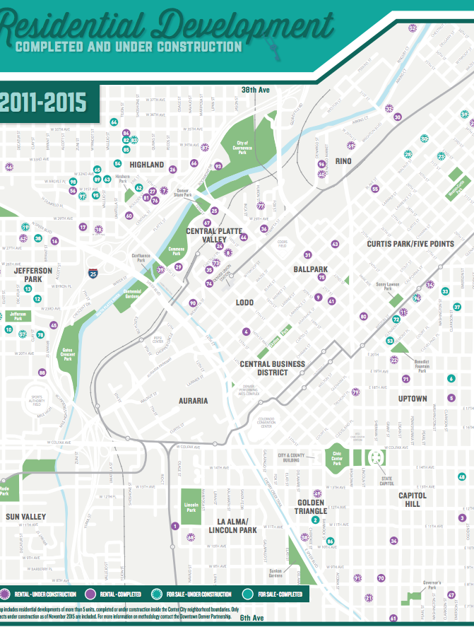Downtown Denver Map on