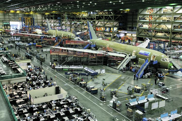 The Boeing 787 Dreamliner final assembly line in Everett on October 5, 2009.  The 787s pictured were delivered to customer ANA (All Nippon Airways).