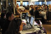 The Olelo technical team records PBN's Nonprofit Breakfast Seminar at the Plaza Club in Downtown Honolulu for a later broadcast.