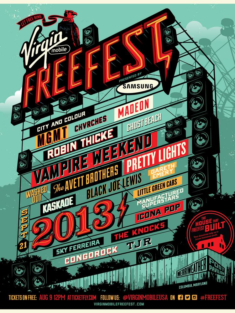 The Virgin Mobile FreeFest lineup for 2013. The festival will not return  this year.
