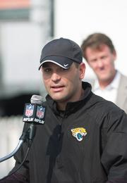 Jacksonville Jaguars general manager David Caldwell speaks about the benefit of partnering with Publix Super Markets prior to the start of training camp Saturday morning. The Jaguars signed a five-year deal with the regional grocer to be the team's official supermarket.