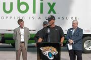 Jacksonville Jaguars head coach Gus Bradley welcomes Publix as the team's official supermarket during a Saturday morning press conference at EverBank Field.