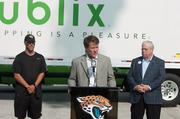 Jaguars Senior Vice President of Corporate Partnerships Scott Massey welcomes Publix as the team's official supermarket during a Saturday morning press conference at EverBank Field.