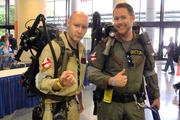 """Brad Gooch, left, and John Britton attended the comic convention dressed as characters from """"Ghostbusters."""""""