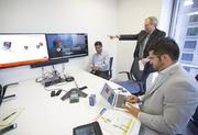 The Accenture Technology Labs team shows how an oil and gas worker could connect with a manager through Google Glass's video chat feature to walk through a certain repair.