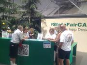 Volunteers helped people at the California State Fair learn about how to use social media at the fair. They helped visitors download QR code readers and answered questions about Facebook, Twitter and Instagram. Here, volunteers Michelle Miller and Robin Beostes offer tips.