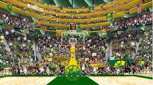 The upper seating bowl of the proposed arena will have rings that will slant inward toward the center court.