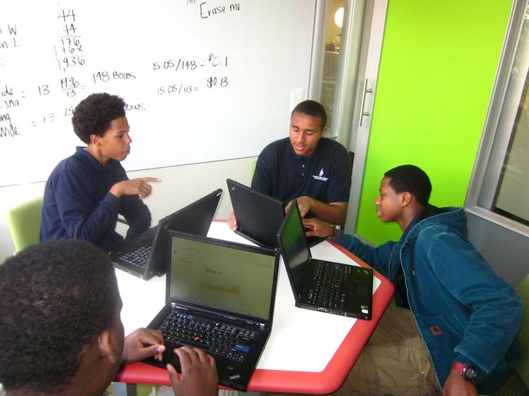 """Students in an """"incubation space"""" in The Possible Project's Cambridge headquarters. The entrepreneurship-focused nonprofit is opening a maker space in Kendall Square."""