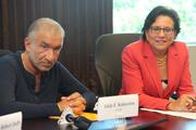 College of Nanoscale Science and Engineering CEO Alain Kaloyeros and U.S. Secretary of Commerce Penny Pritzker. Pritzker participated in a roundtable discussion with CNSE executives and industry leaders.