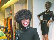 Ophelia Bakon shows off the selection at Nouveau Fashion Gallery at Copley Place.