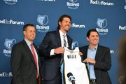 Coach Joerger and Jason Levien presenting Mike Miller with a blank jersey