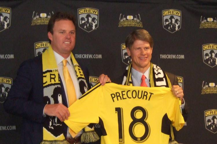 New Columbus Crew owner Anthony Precourt, left, meets the press with previous majority owner Clark Hunt during a press conference Tuesday to announce the team's sale.