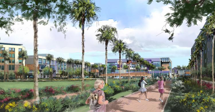 A rendering of Grand Canyon University's planned campus in Mesa.