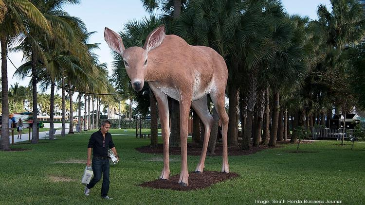 """Deer"" by Tony Tasset, is part of Metaforms, the theme of this year's Art Basel public exhibition in Collins Park on Miami Beach. The exhibition includes 27 large-scale and site-specific installations and performances by renowned and emerging artists from over 11 countries."