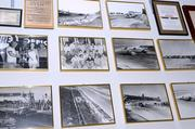 "A wall of photos that date back to the ""beach days"" of Daytona stock car racing. Before the speedway was built, races happened on the sand."